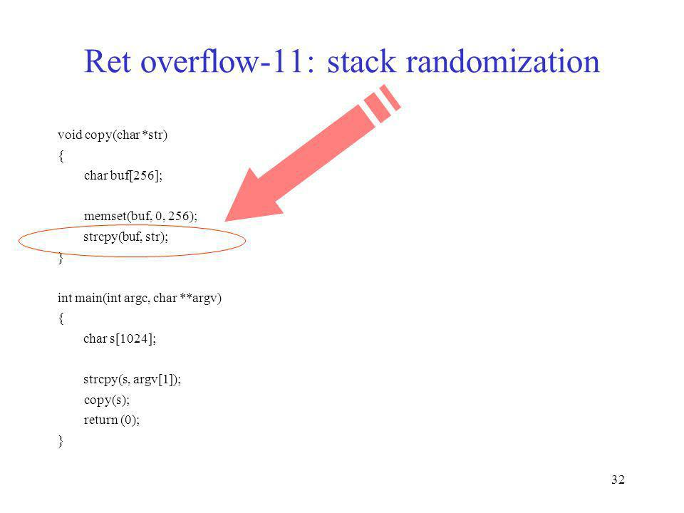 Ret overflow-11: stack randomization