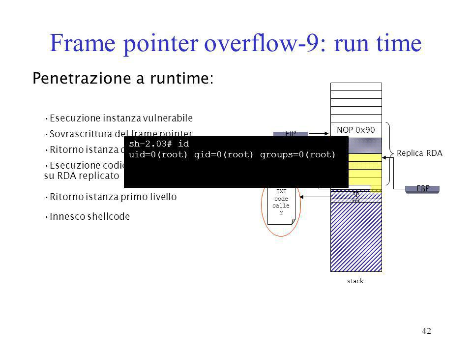 Frame pointer overflow-9: run time