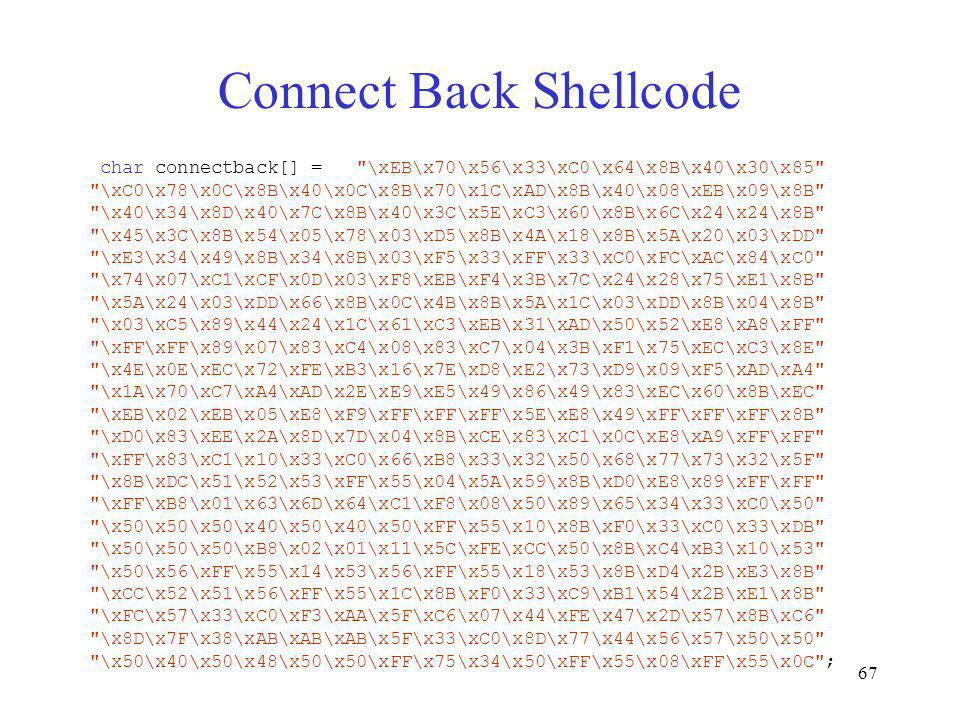 Connect Back Shellcode