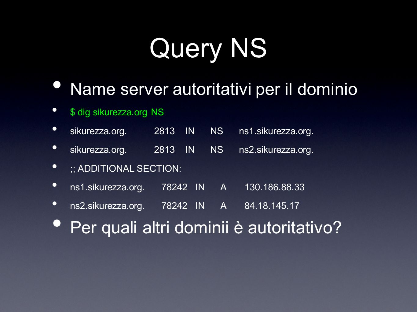 Query NS Name server autoritativi per il dominio