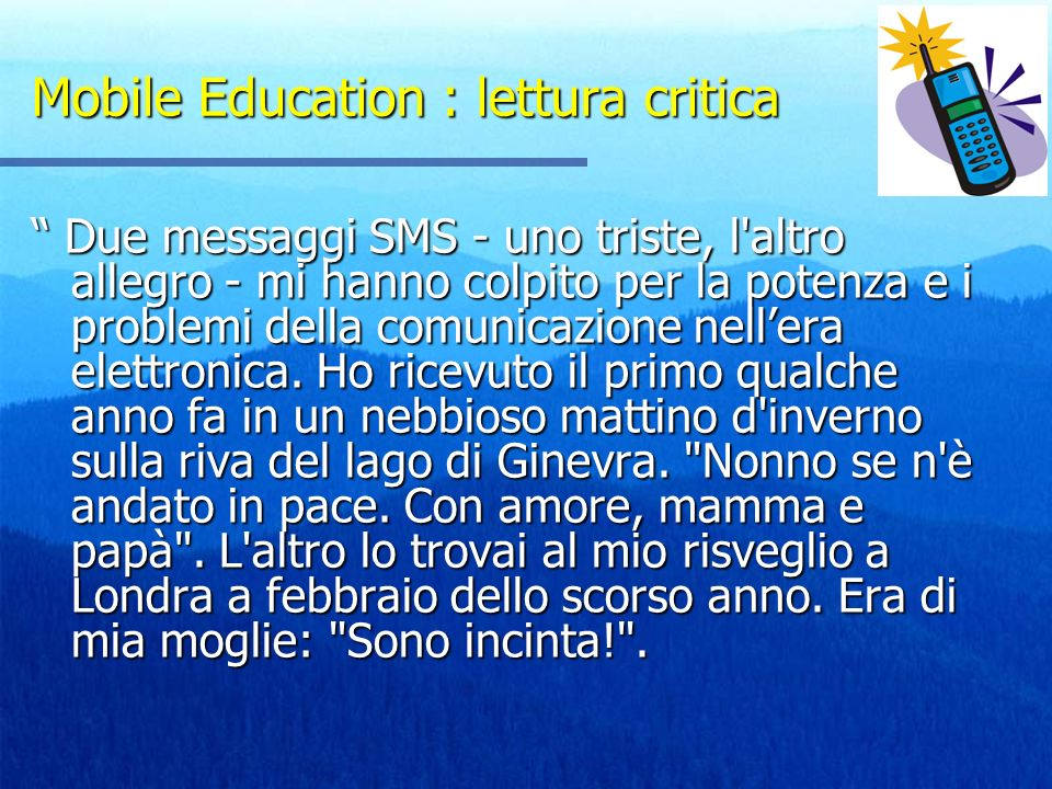 Mobile Education : lettura critica