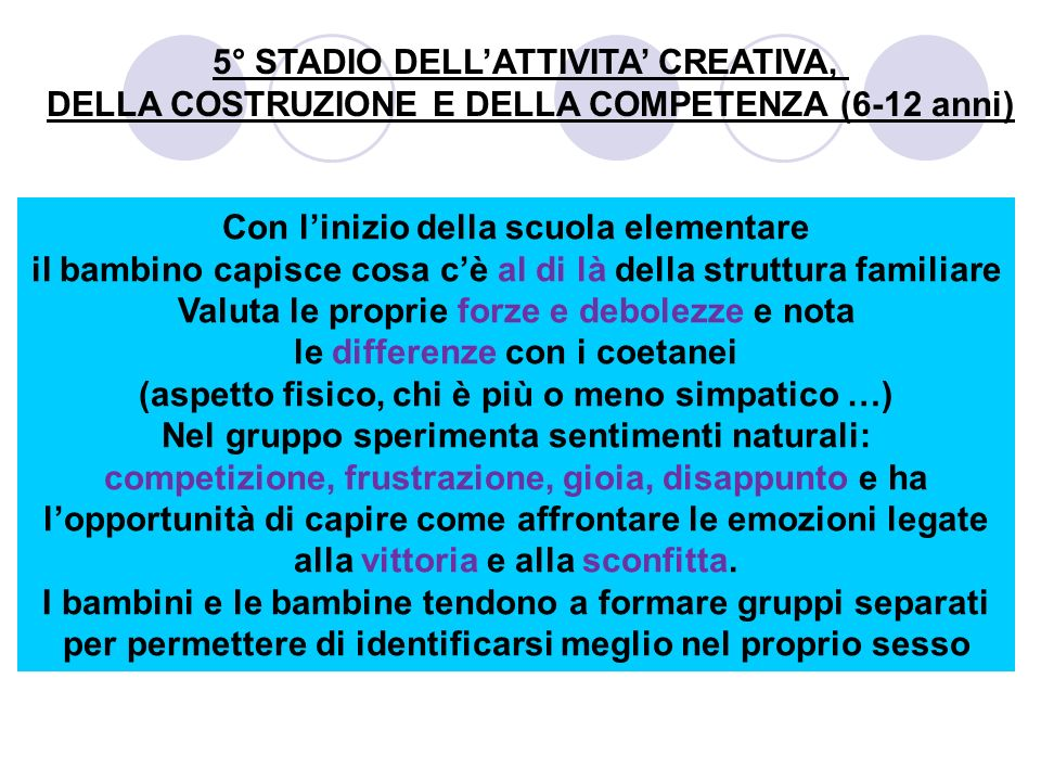 5° STADIO DELL'ATTIVITA' CREATIVA,