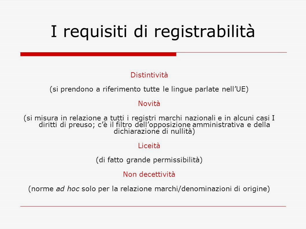 I requisiti di registrabilità