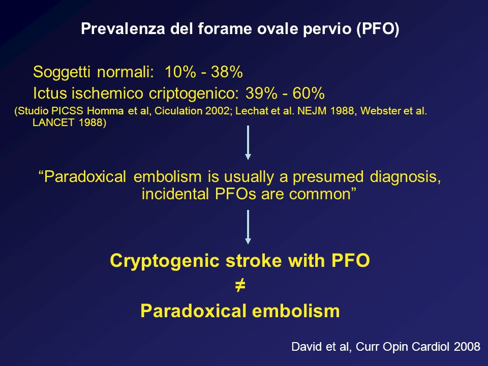 Prevalenza del forame ovale pervio (PFO) Cryptogenic stroke with PFO