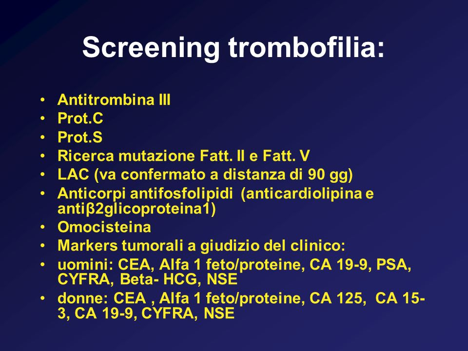 Screening trombofilia:
