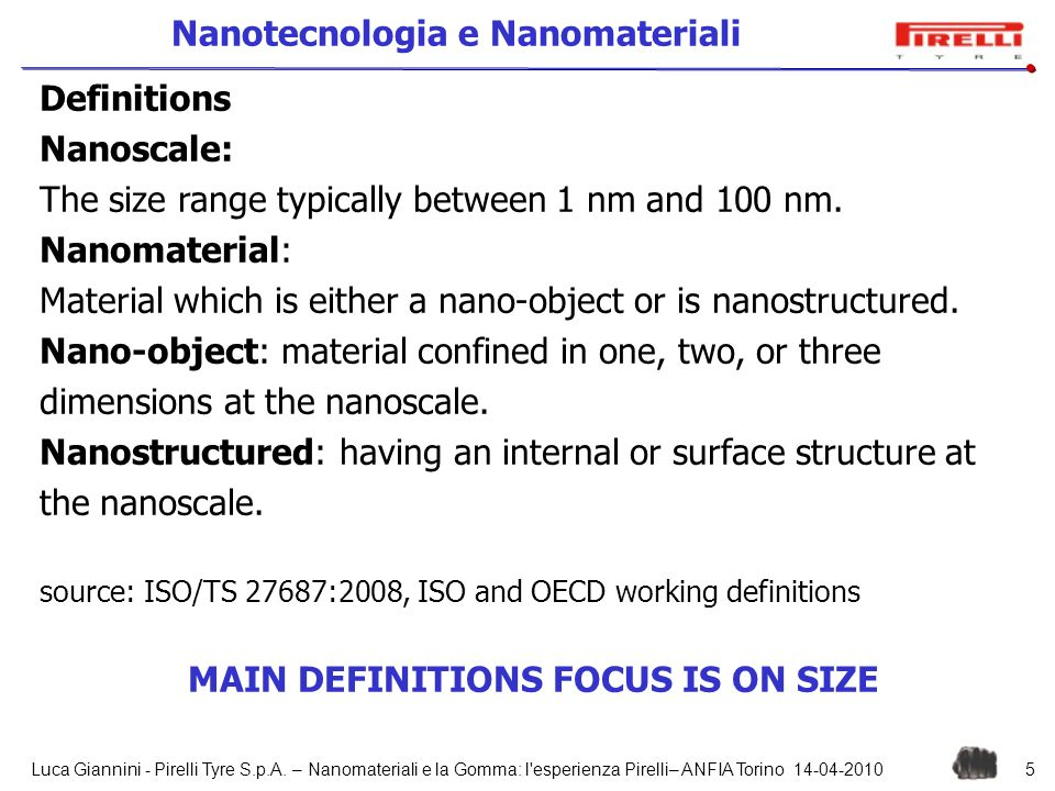 MAIN DEFINITIONS FOCUS IS ON SIZE