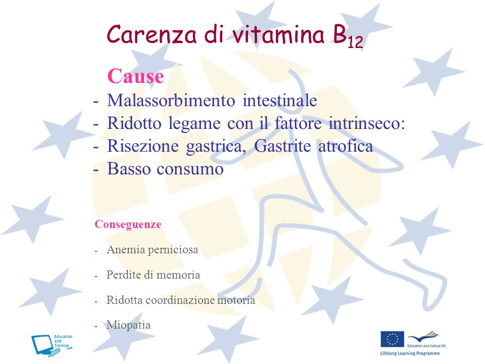 Carenza di vitamina B12 Cause Malassorbimento intestinale