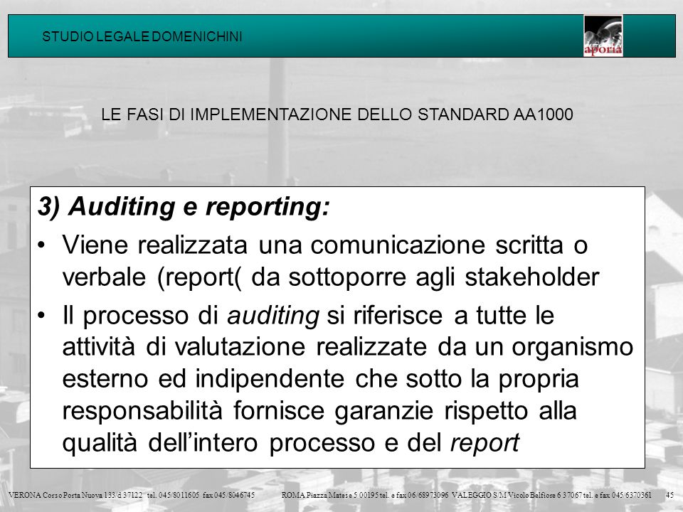 3) Auditing e reporting: