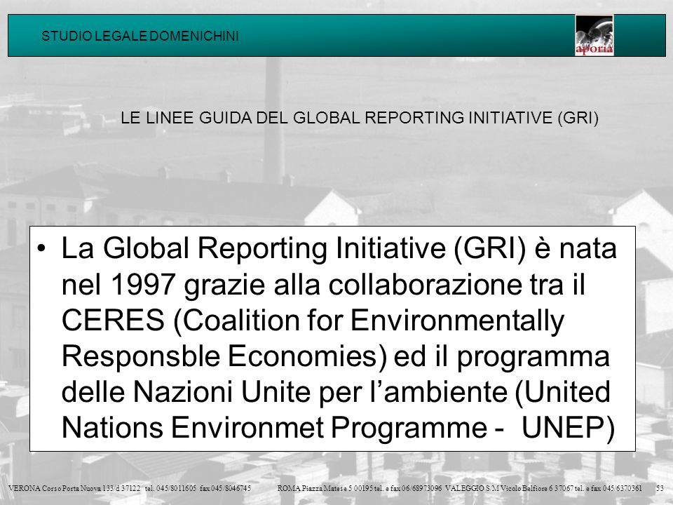 LE LINEE GUIDA DEL GLOBAL REPORTING INITIATIVE (GRI)