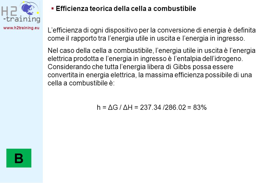 B Efficienza teorica della cella a combustibile