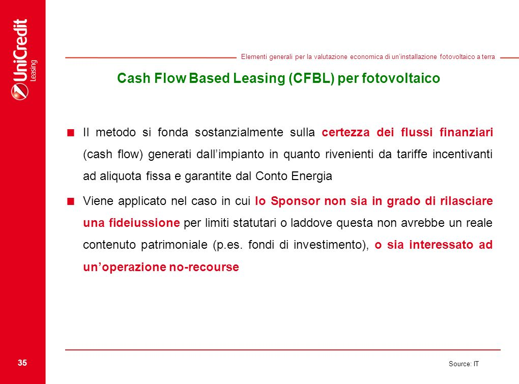 Cash Flow Based Leasing (CFBL) per fotovoltaico