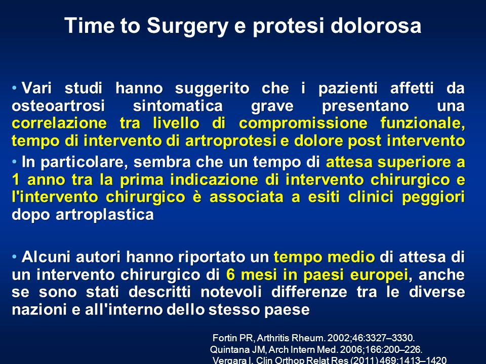Time to Surgery e protesi dolorosa