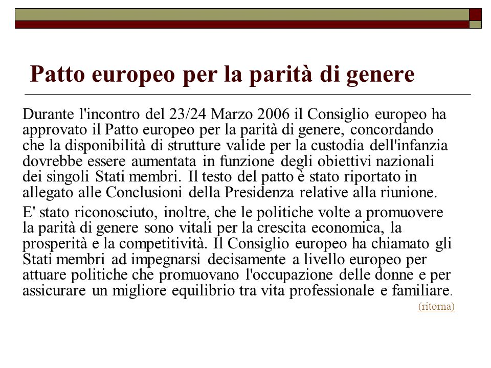 Patto europeo per la parità di genere