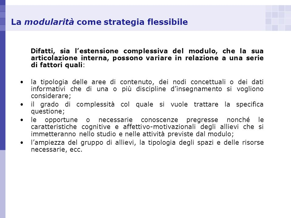 La modularità come strategia flessibile