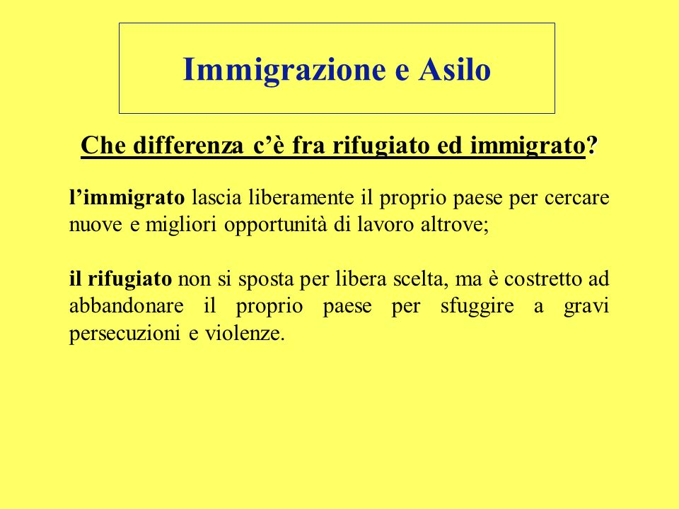 Che differenza c'è fra rifugiato ed immigrato