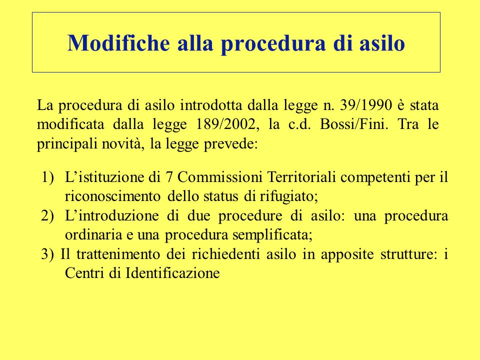 Modifiche alla procedura di asilo