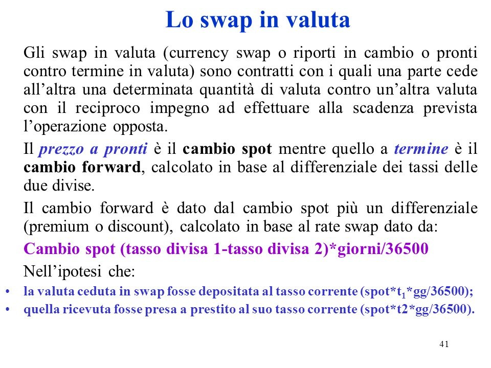 Lo swap in valuta