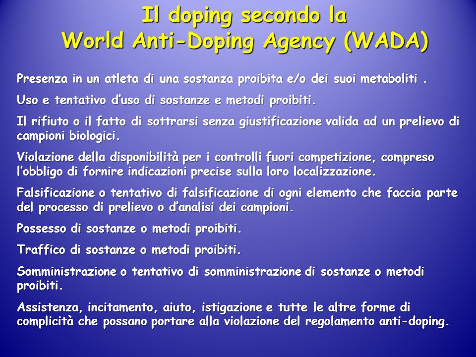 Il doping secondo la World Anti-Doping Agency (WADA)