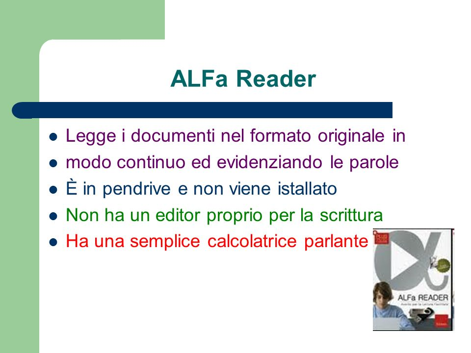 ALFa Reader Legge i documenti nel formato originale in