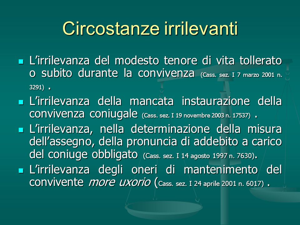 Circostanze irrilevanti