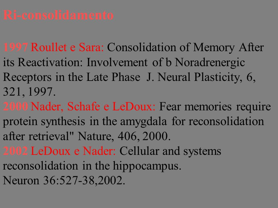Ri-consolidamento 1997 Roullet e Sara: Consolidation of Memory After its Reactivation: Involvement of b Noradrenergic Receptors in the Late Phase J.