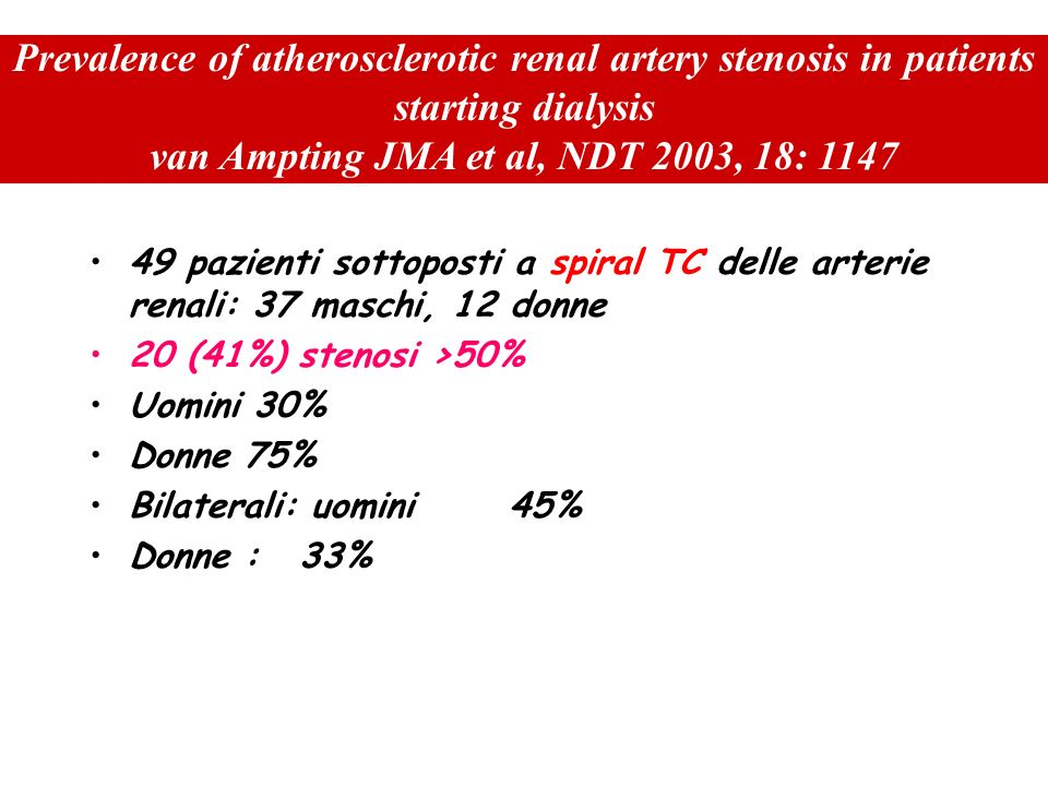 Prevalence of atherosclerotic renal artery stenosis in patients starting dialysis van Ampting JMA et al, NDT 2003, 18: 1147