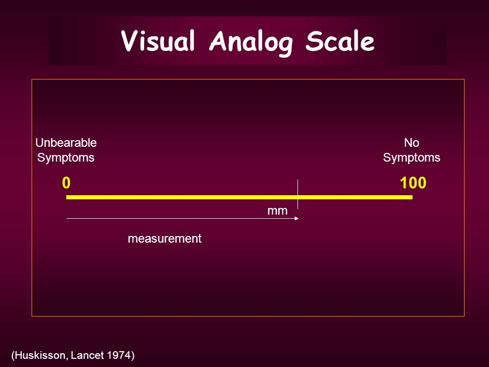 Visual Analog Scale 100 Unbearable Symptoms No Symptoms mm measurement
