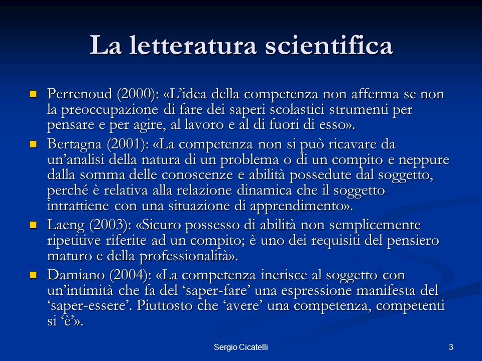 La letteratura scientifica
