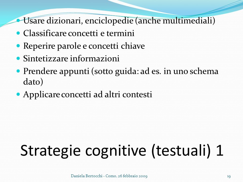 Strategie cognitive (testuali) 1