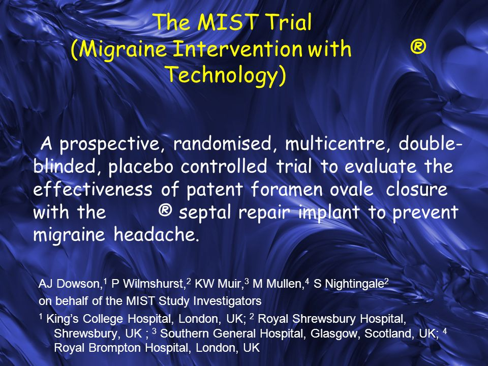 The MIST Trial (Migraine Intervention with ® Technology)