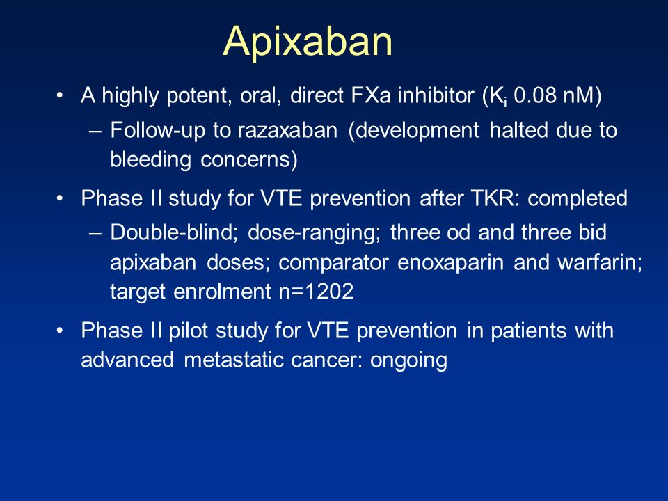 Apixaban A highly potent, oral, direct FXa inhibitor (Ki 0.08 nM)