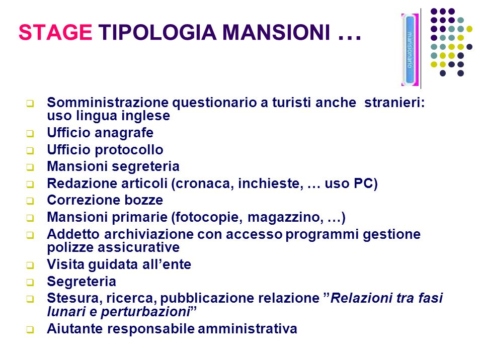 STAGE TIPOLOGIA MANSIONI …