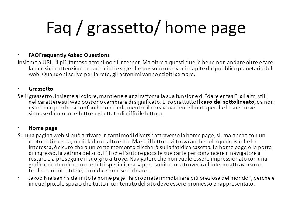 Faq / grassetto/ home page
