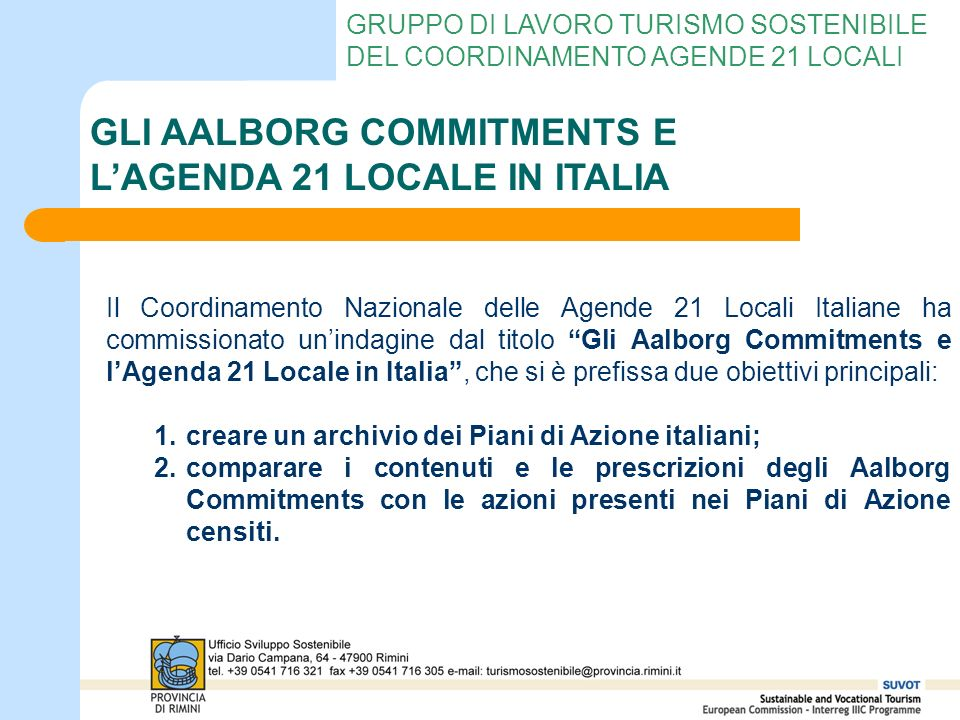 GLI AALBORG COMMITMENTS E L'AGENDA 21 LOCALE IN ITALIA