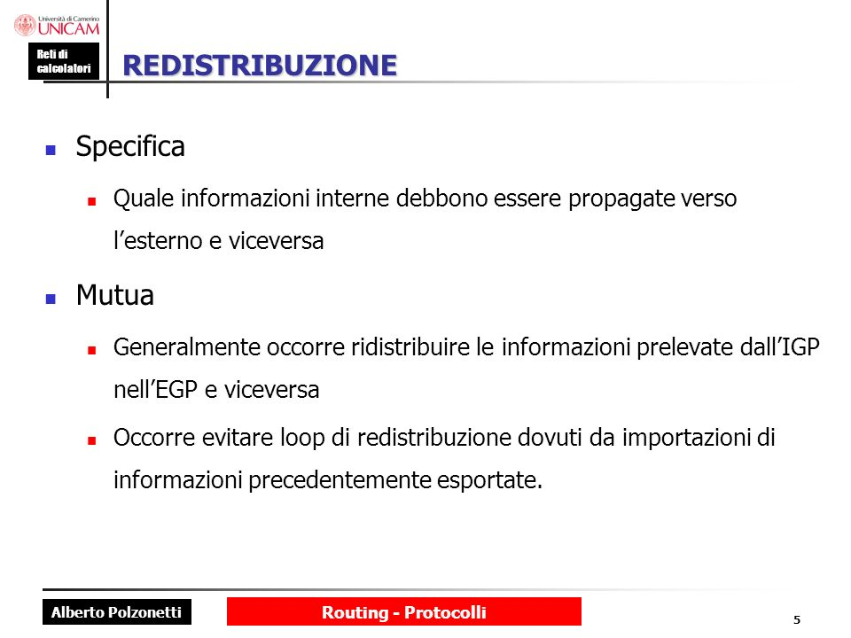 REDISTRIBUZIONE Specifica Mutua