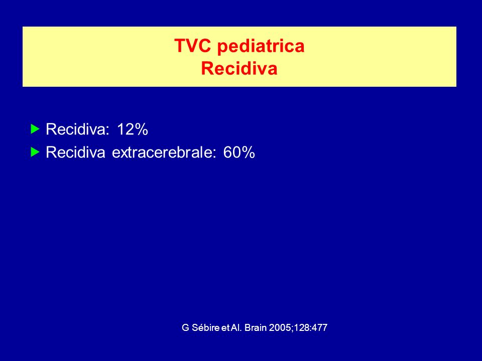 TVC pediatrica Recidiva