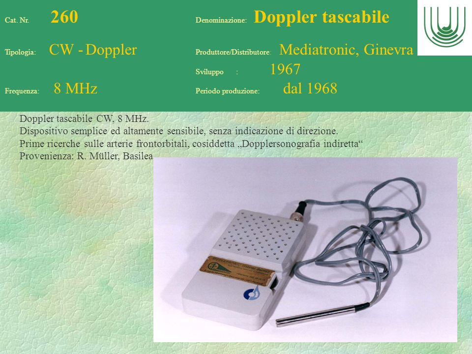 Doppler tascabile CW, 8 MHz.