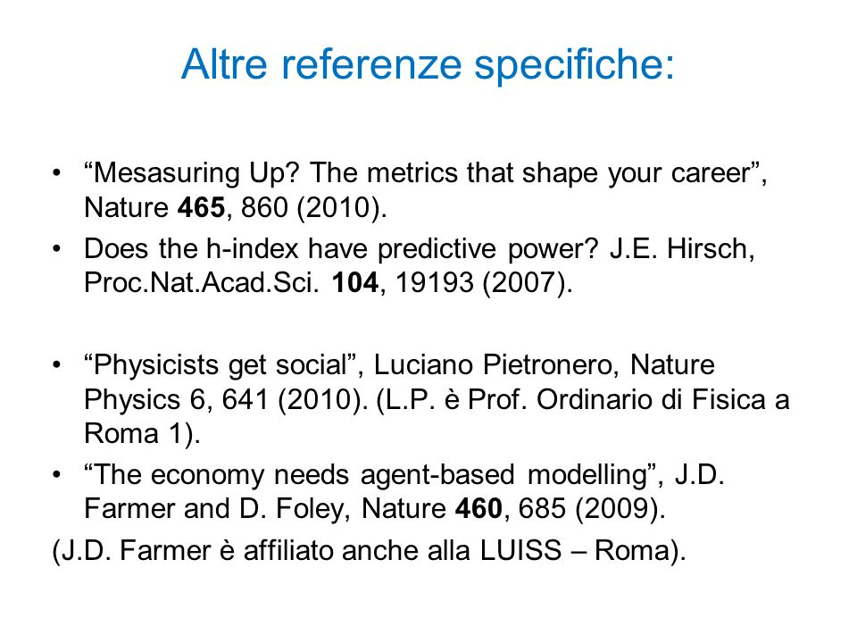 Altre referenze specifiche:
