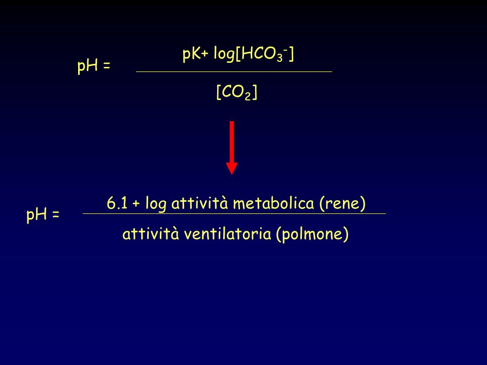 6.1 + log attività metabolica (rene) pH =