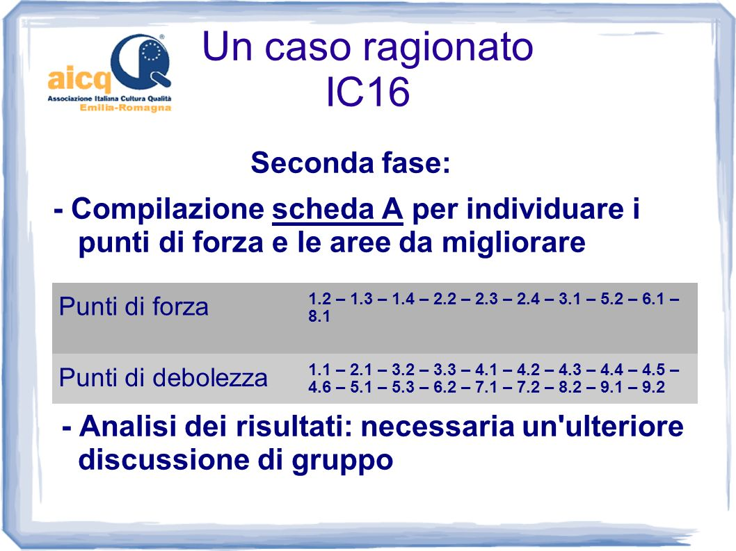 Un caso ragionato IC16 Seconda fase:
