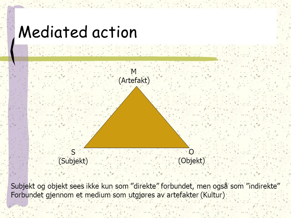 Mediated action M (Artefakt) S O (Subjekt) (Objekt)