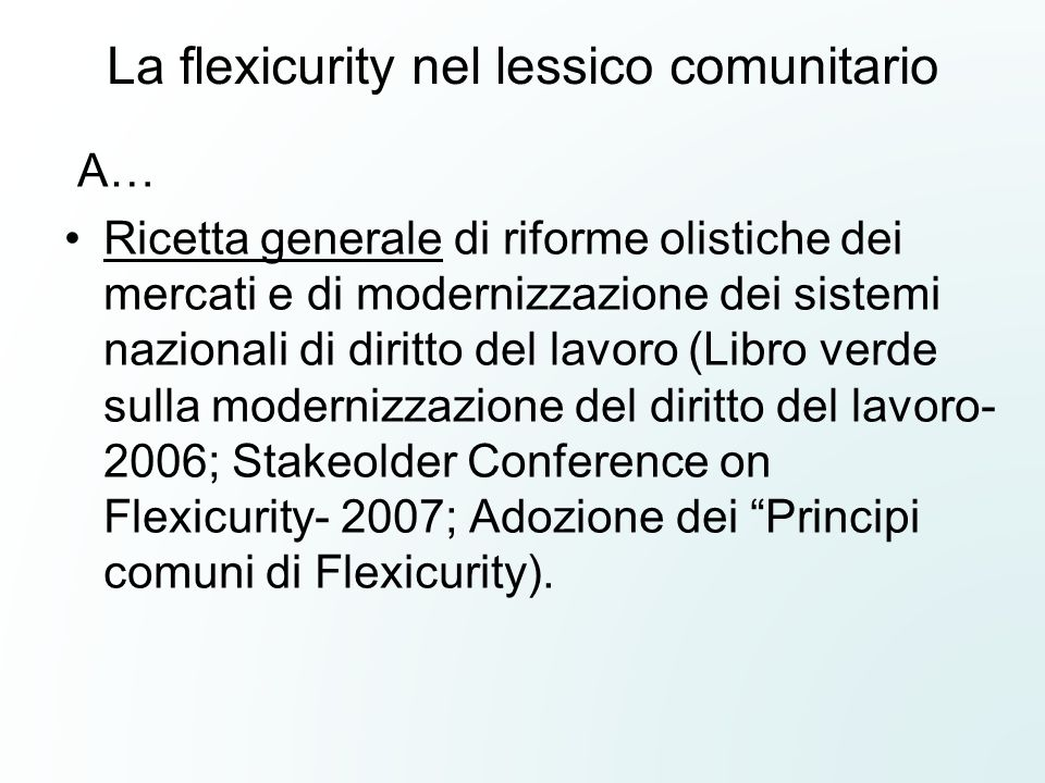 La flexicurity nel lessico comunitario