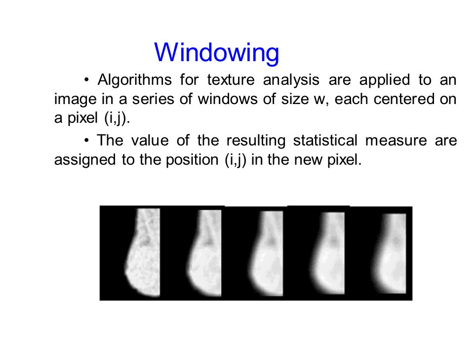 03/16/09 Windowing. • Algorithms for texture analysis are applied to an image in a series of windows of size w, each centered on a pixel (i,j).