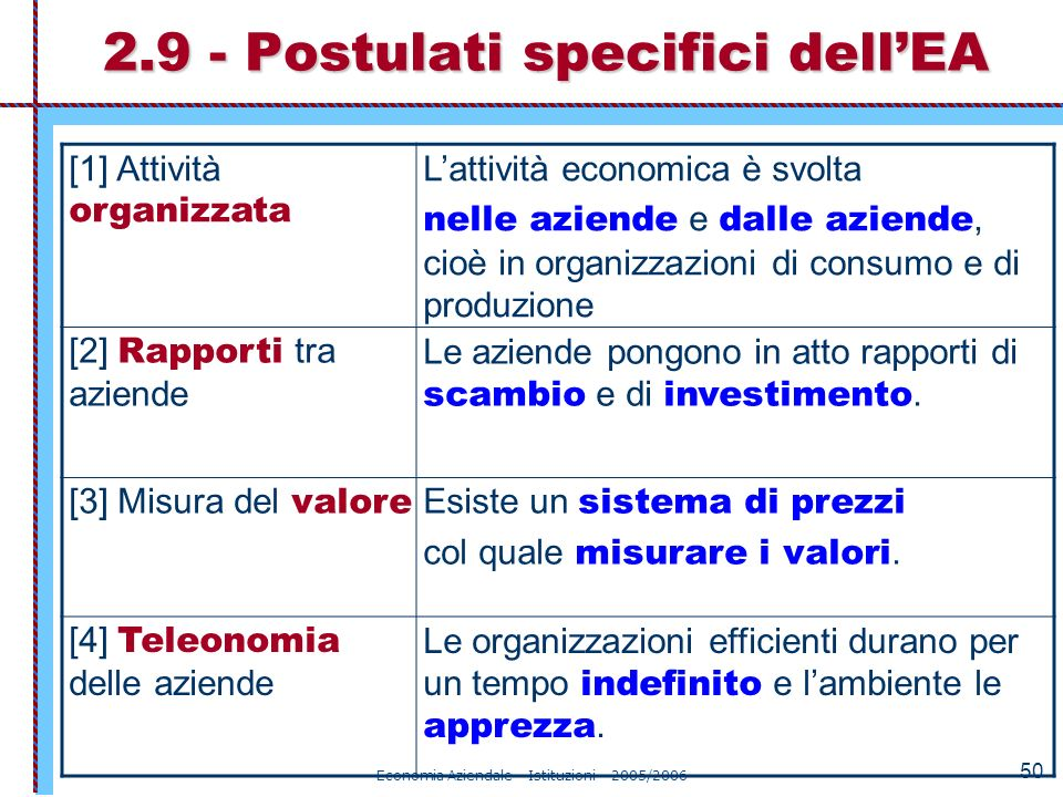 2.9 - Postulati specifici dell'EA