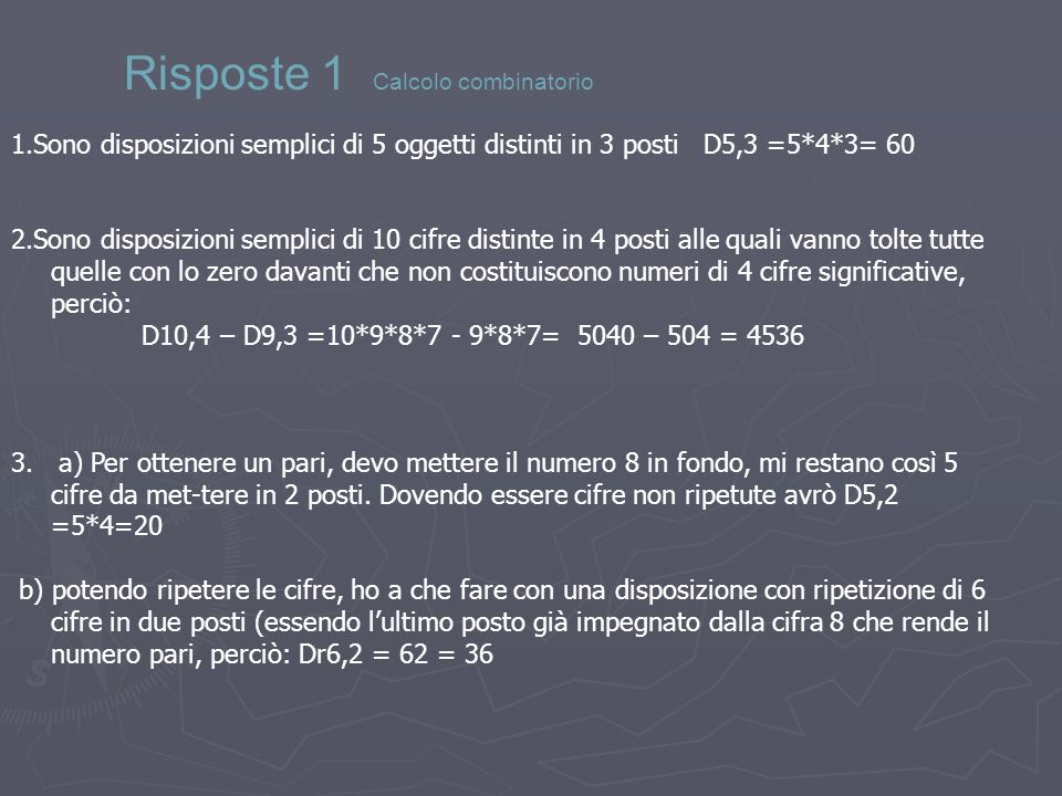 Risposte 1 Calcolo combinatorio