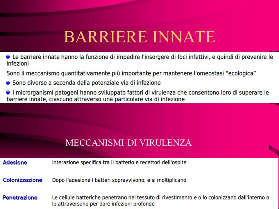 BARRIERE INNATE MECCANISMI DI VIRULENZA