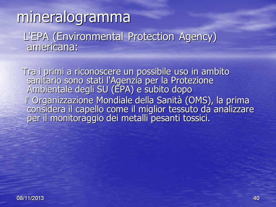mineralogramma L EPA (Environmental Protection Agency) americana: