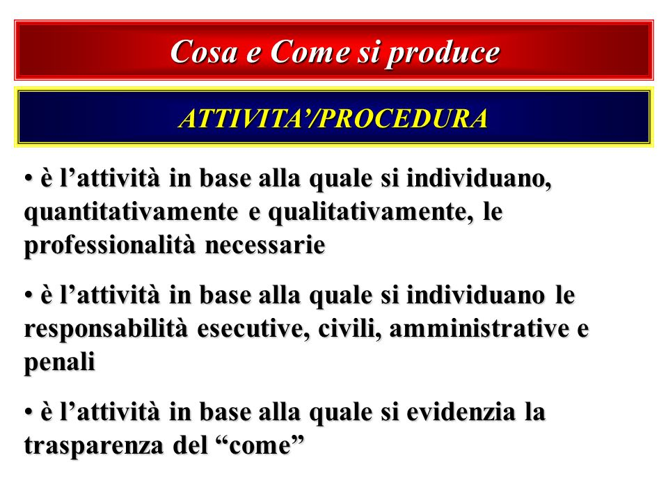 Cosa e Come si produce ATTIVITA'/PROCEDURA