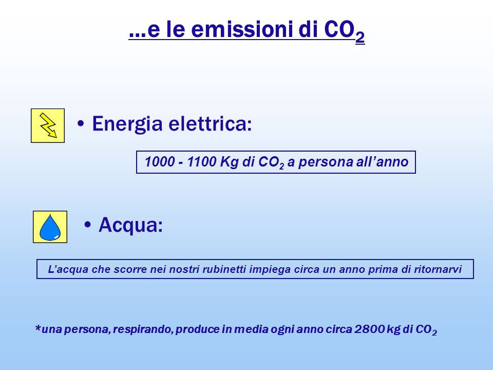 1000 - 1100 Kg di CO2 a persona all'anno