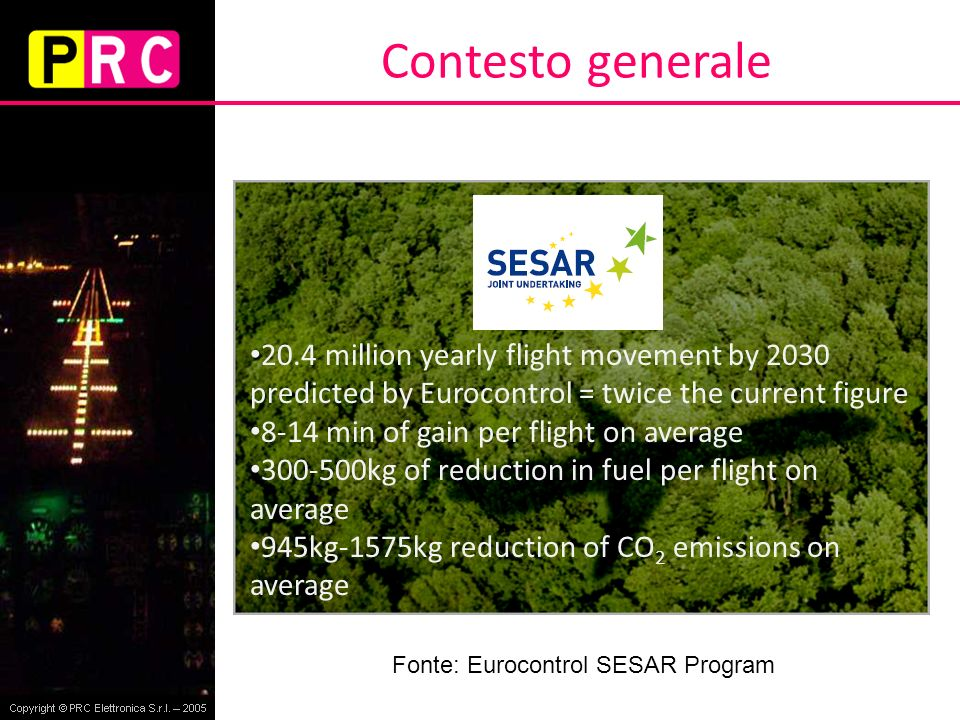 Contesto generale 20.4 million yearly flight movement by 2030 predicted by Eurocontrol = twice the current figure.
